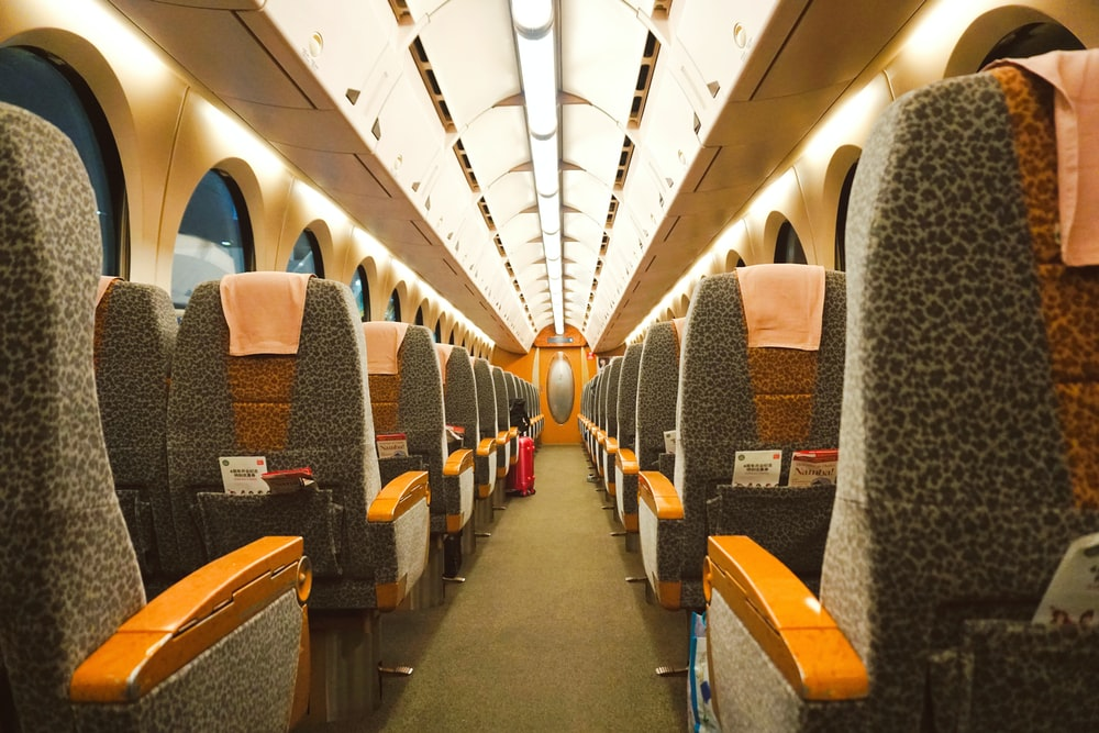 blue and brown train seats