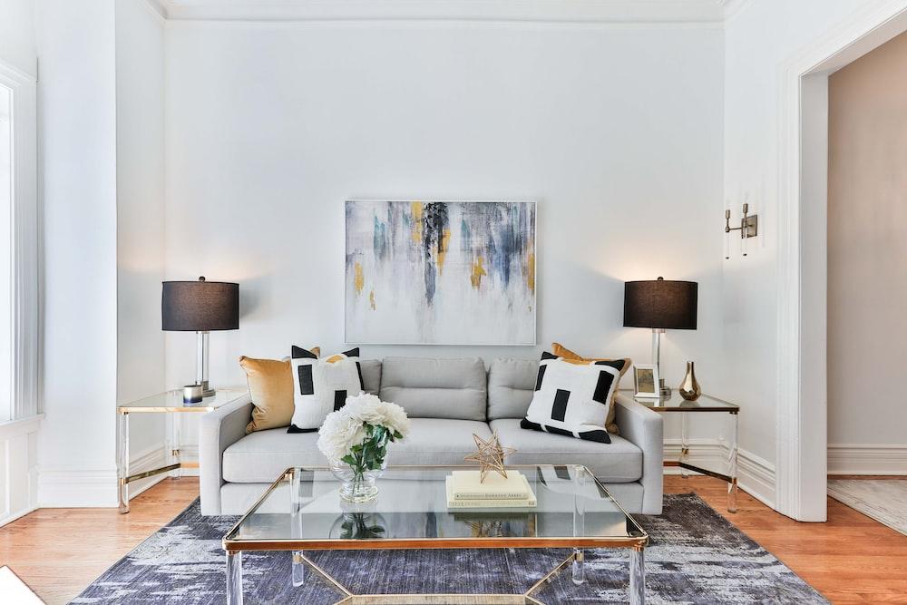 white and brown sofa set