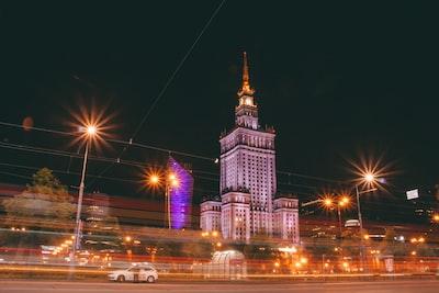 varsovia science palace building during nighttime