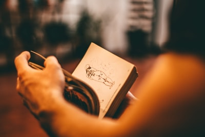 person holding a book in a room