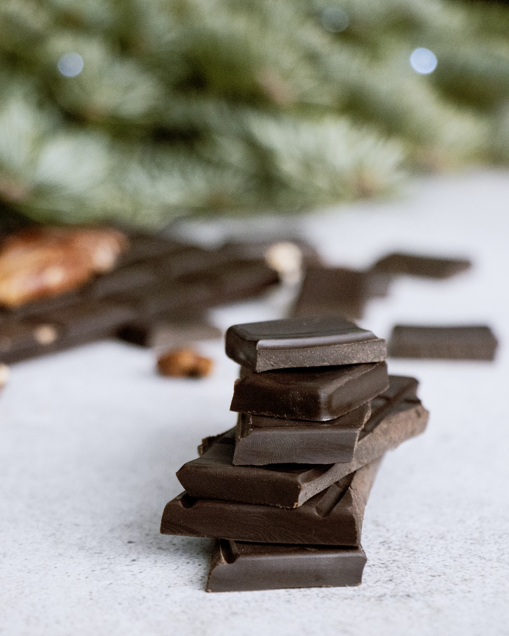 brown chocolate bars on white surface