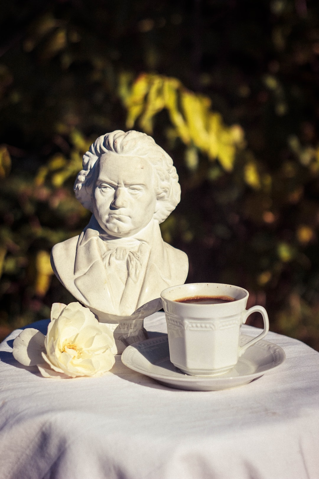 Morning Coffee and the bust of Ludwig van Beethoven (1770 – 1827), who was a German composer and pianist; his music is amongst the most performed of the classical music repertoire.