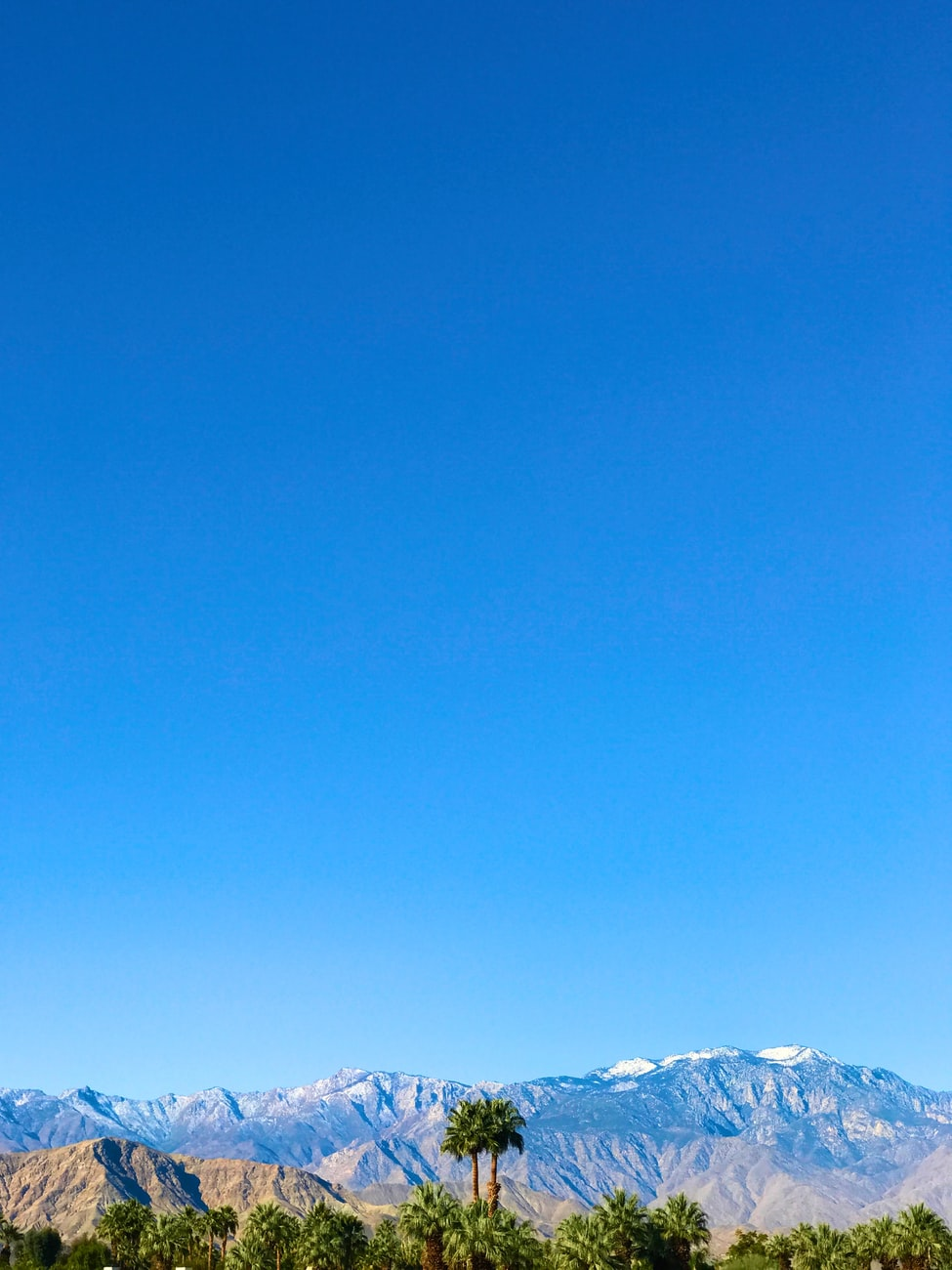 blue sky and mountains near Palm Desert, CA