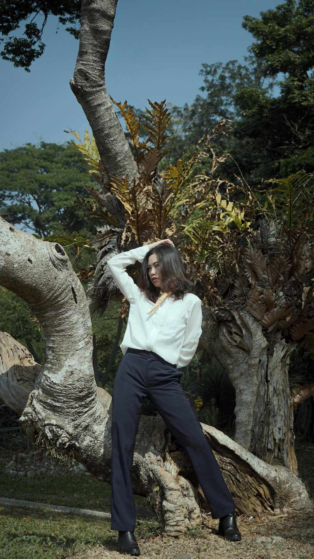 woman in white long sleeve shirt and blue pants standing beside brown tree during daytime