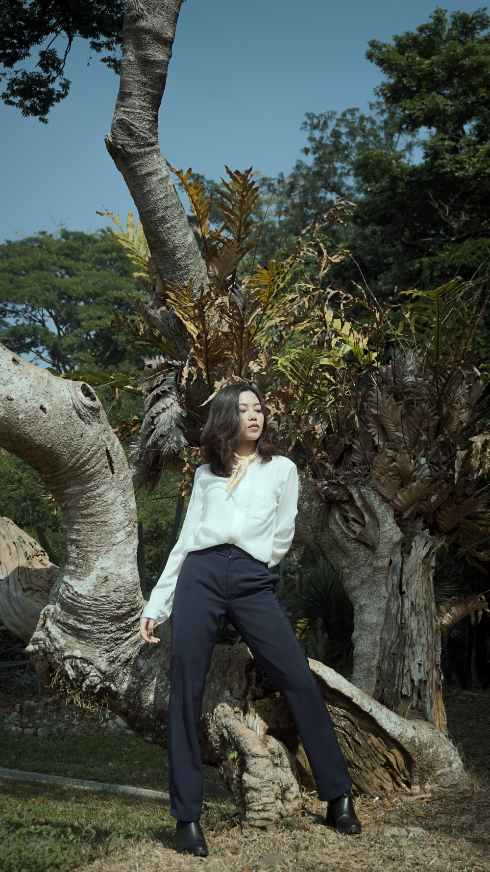 woman in white long sleeve shirt and black pants sitting on tree branch during daytime