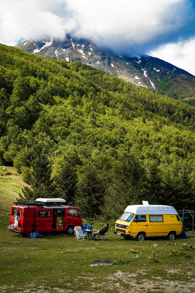 van camping in the mountains