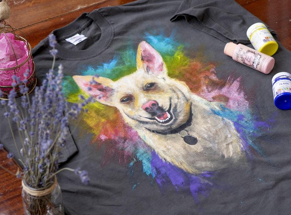 black purple and yellow dog print crew neck shirt