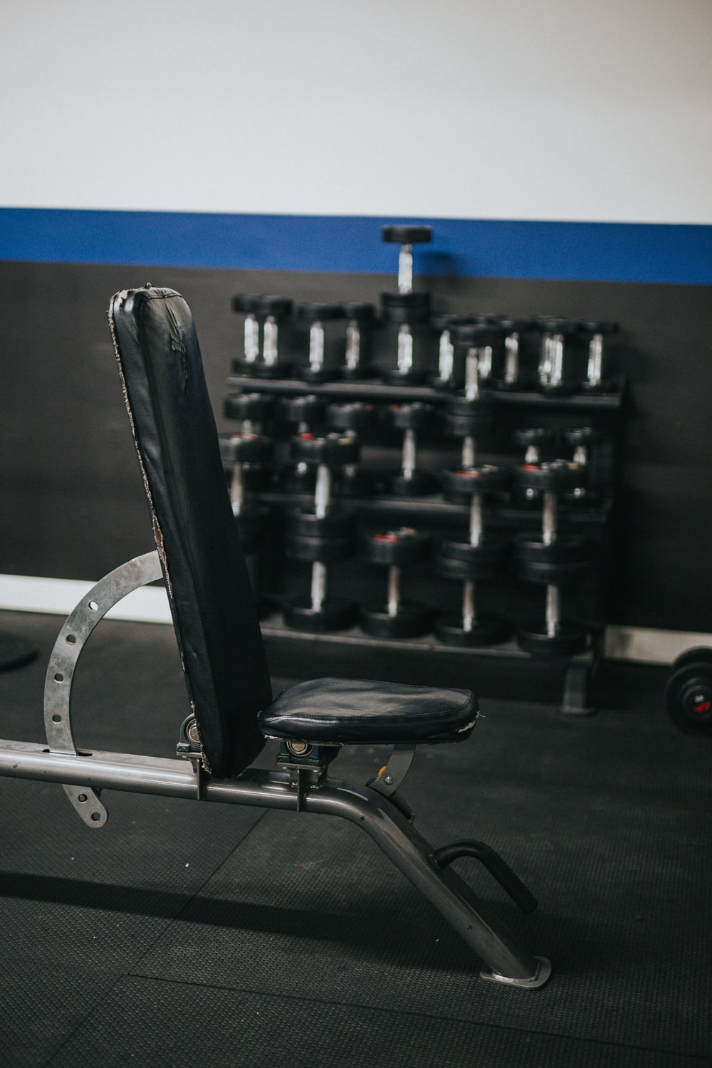 black and silver exercise equipments