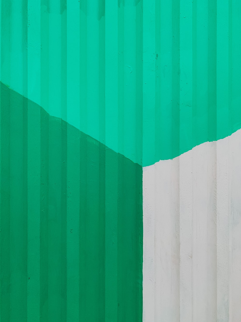 green and white wooden wall