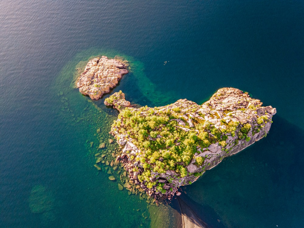 green moss on rock formation in the middle of the sea