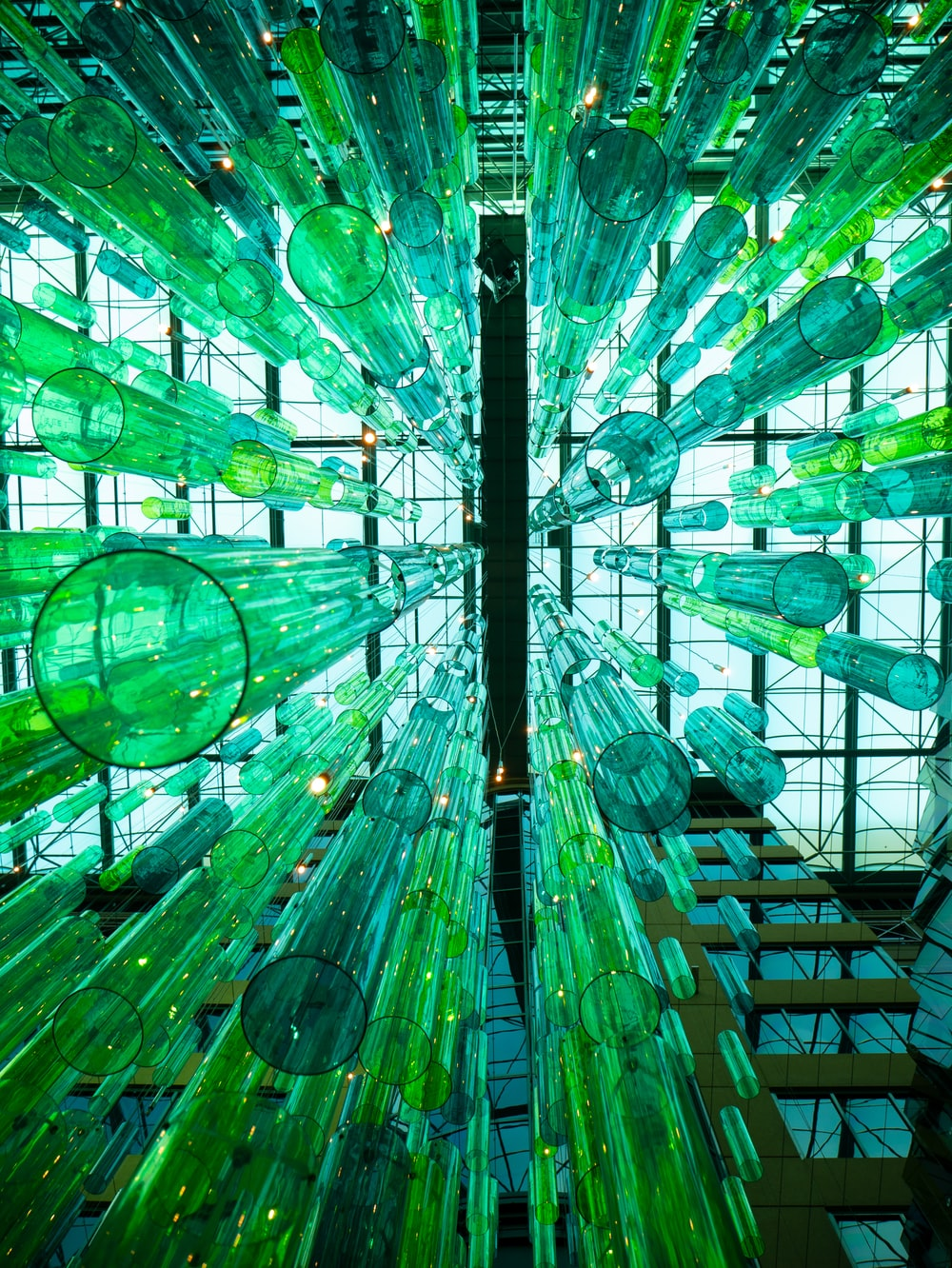 green and blue glass ceiling