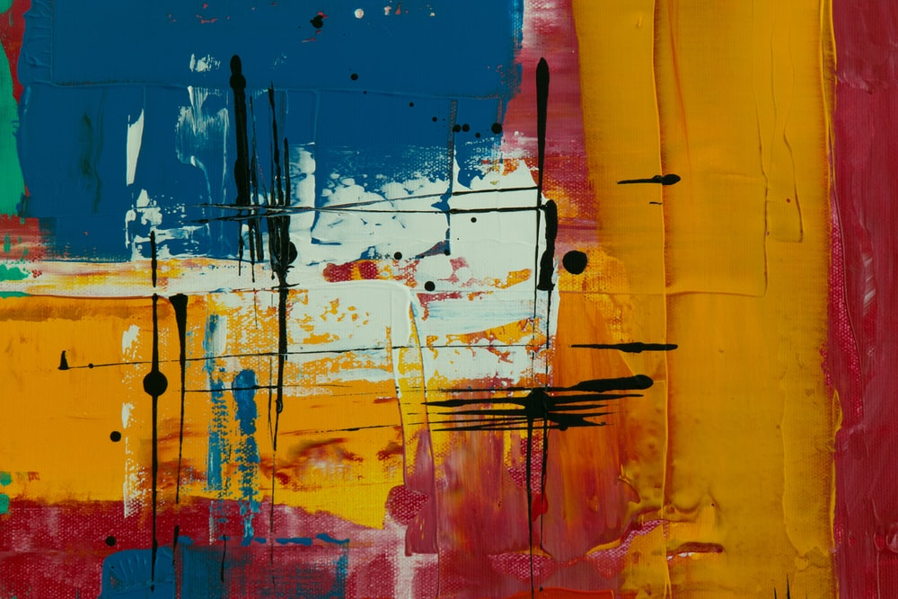 orange red and blue abstract painting