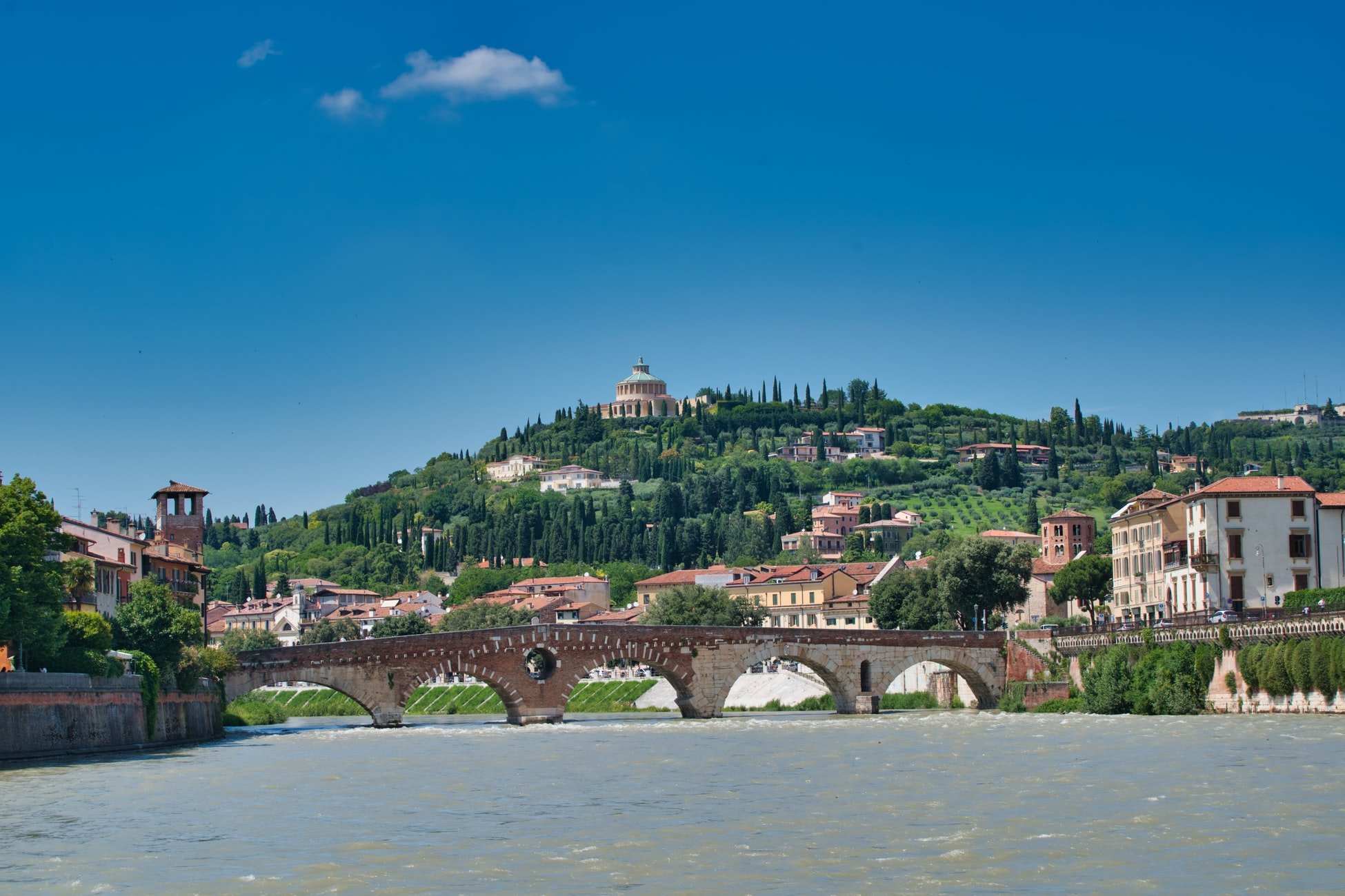 view of hill and bridge in Verona, Italy