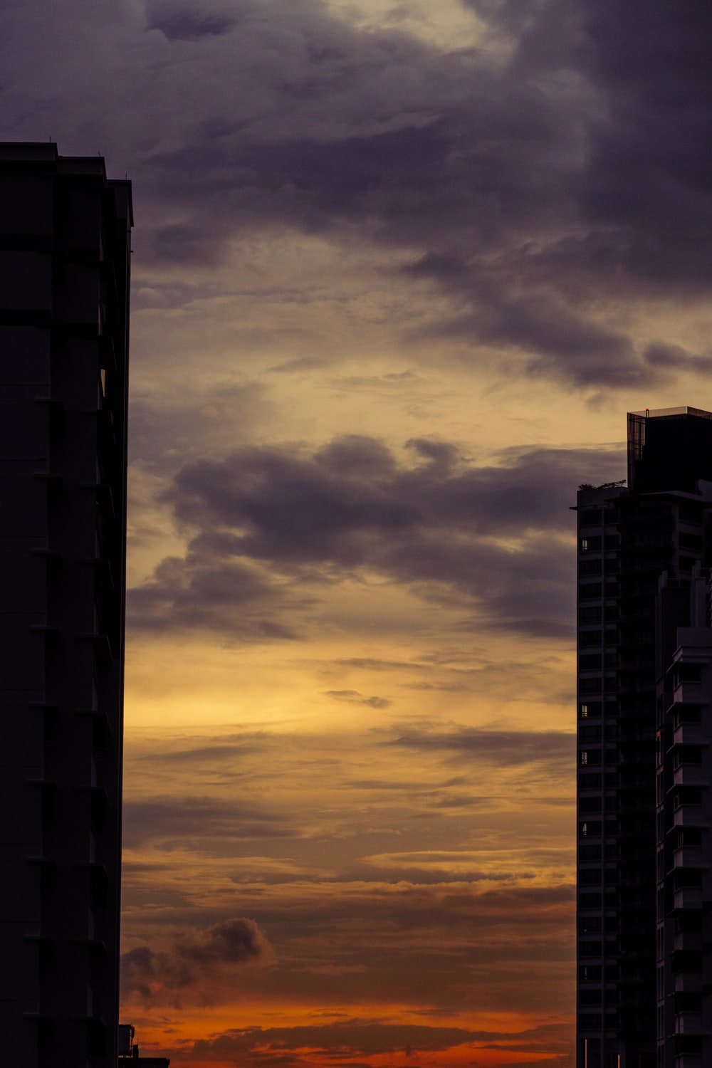 silhouette of high rise building during sunset