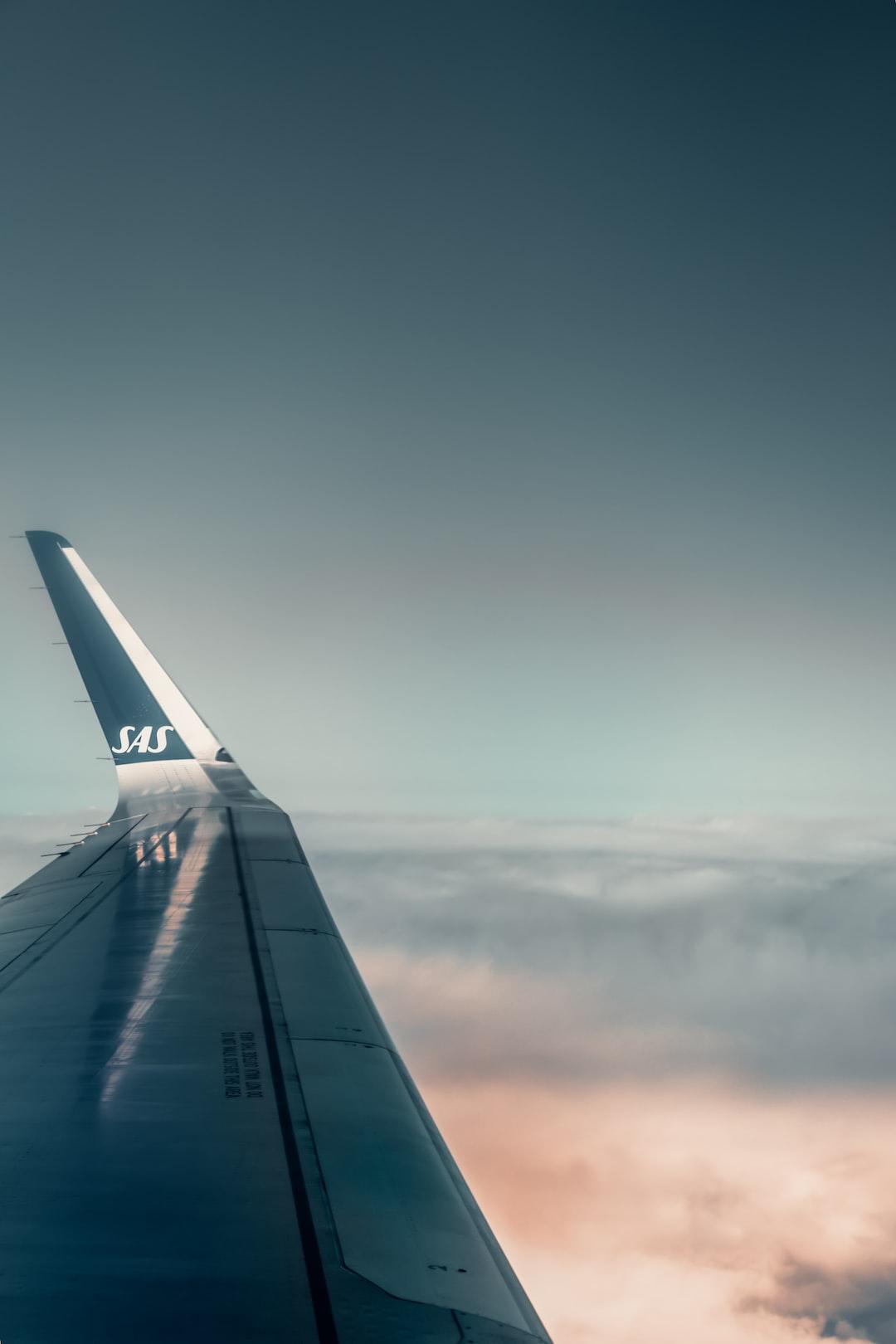 flight, plane, sas, blue, orange, air, skies, heaven, airplane