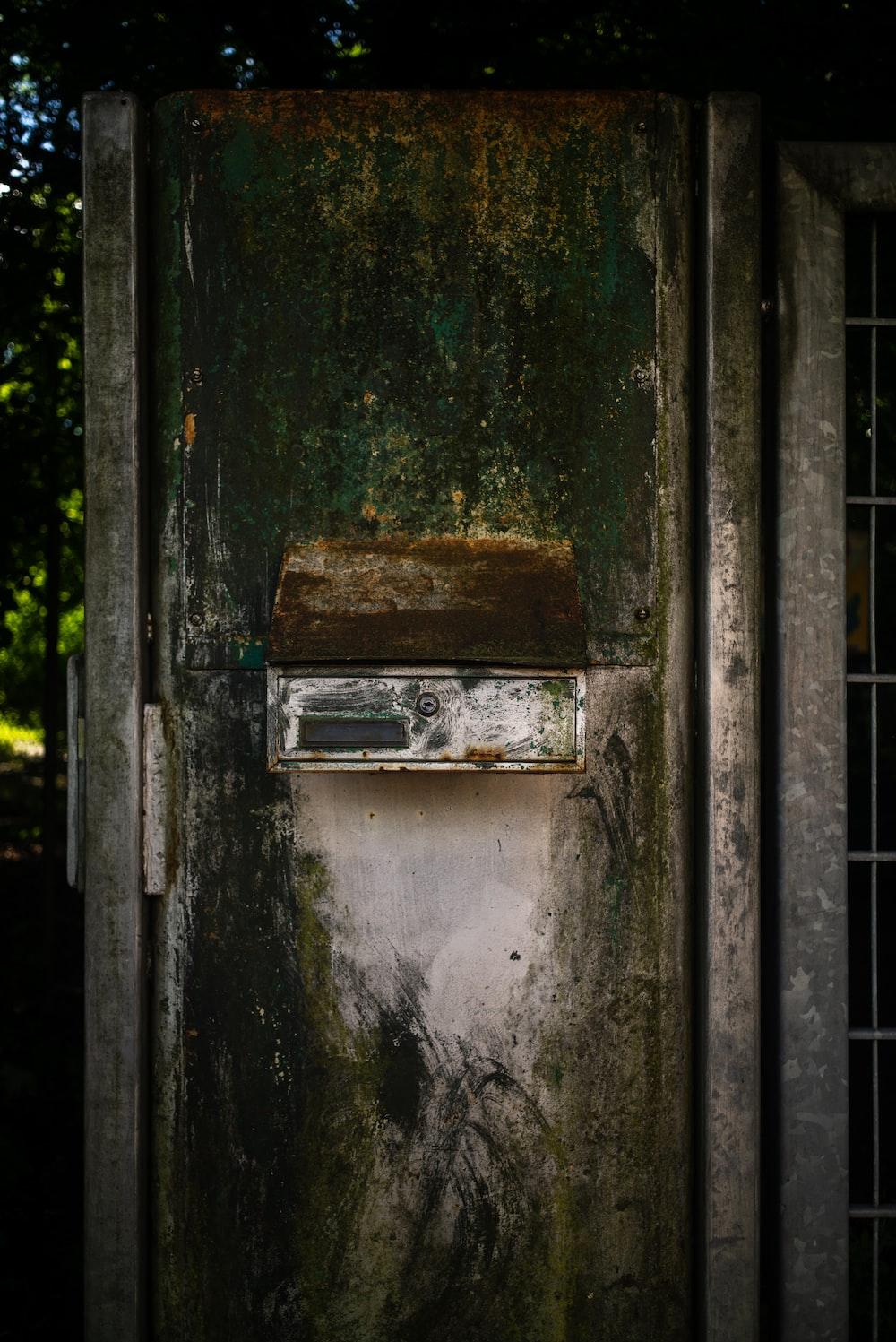 green and brown wooden door