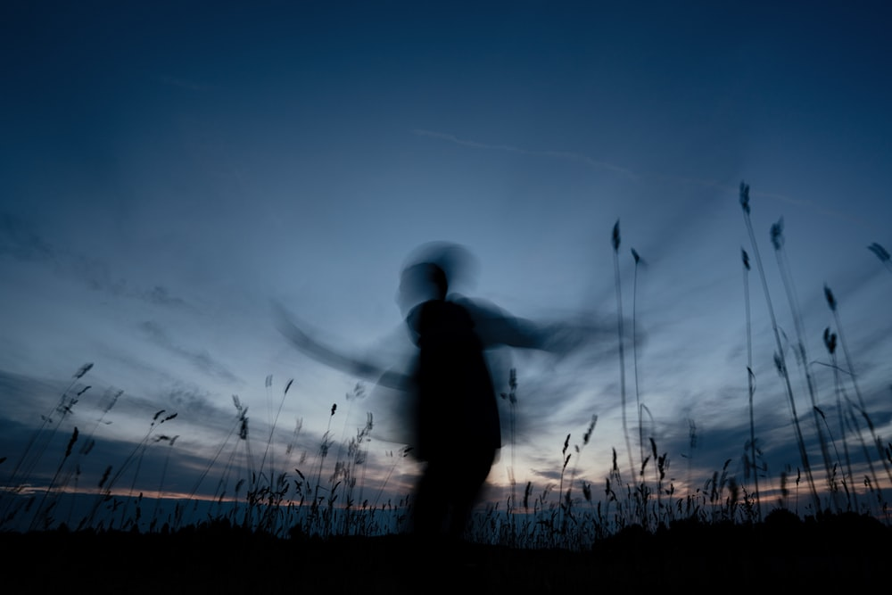 silhouette of man standing on grass field during sunset