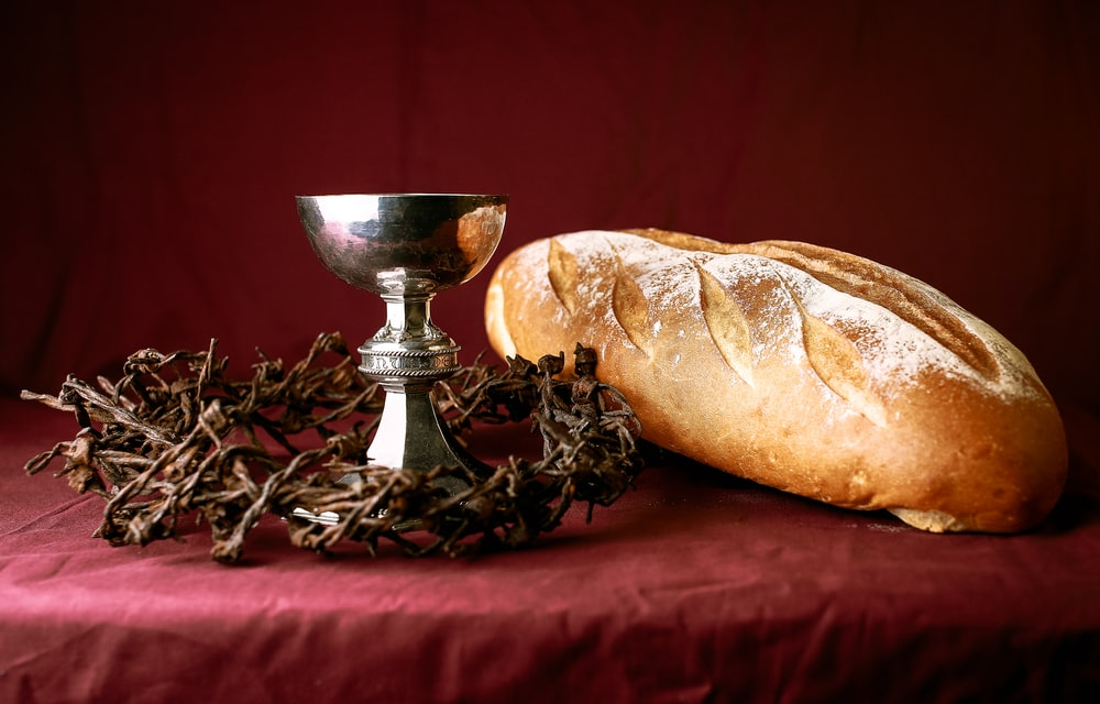 bread on black metal stand