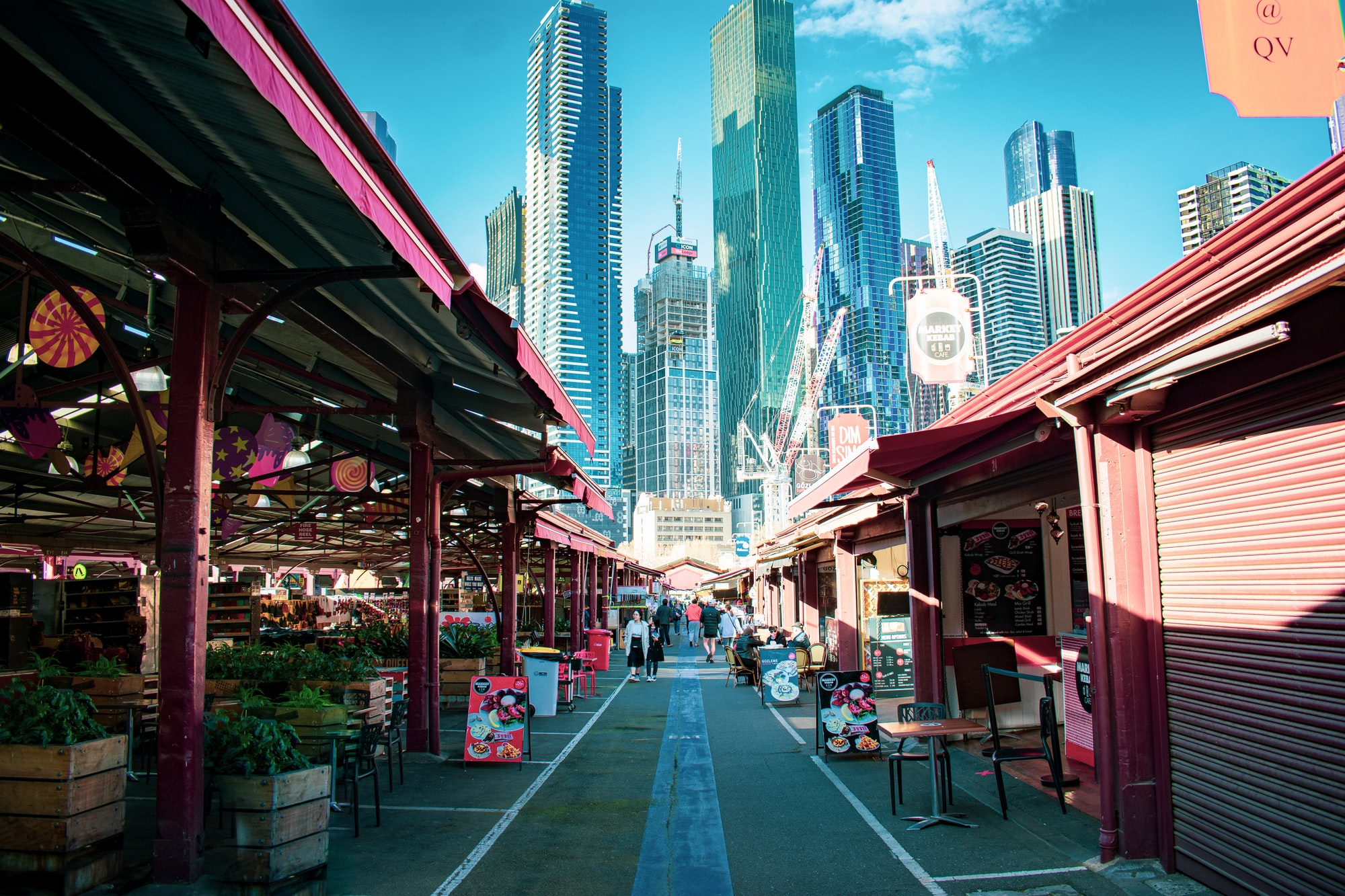 The Queen Victoria Market with the view of Melbourne's skyline