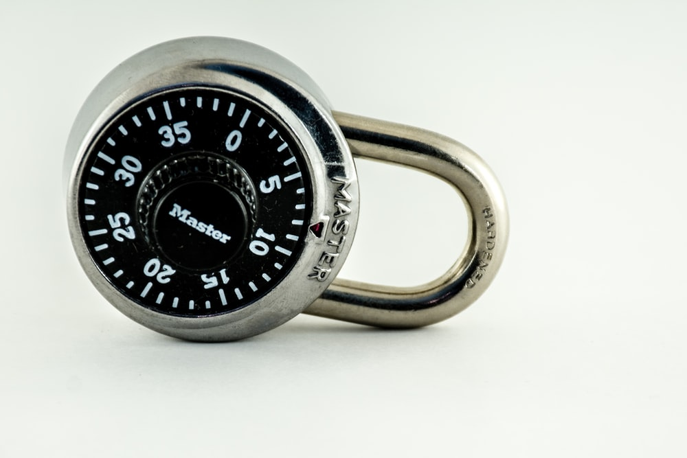 silver and black combination lock