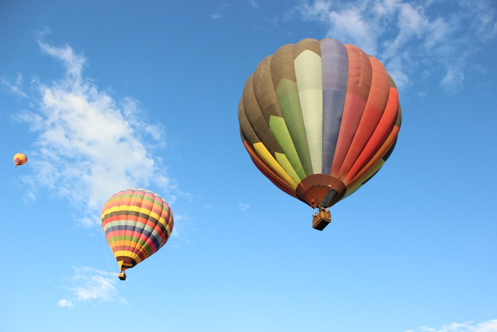 yellow red and blue hot air balloon under blue sky during daytime