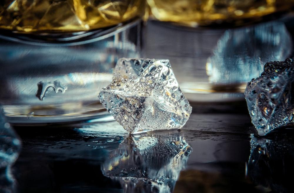 clear crystal on black table