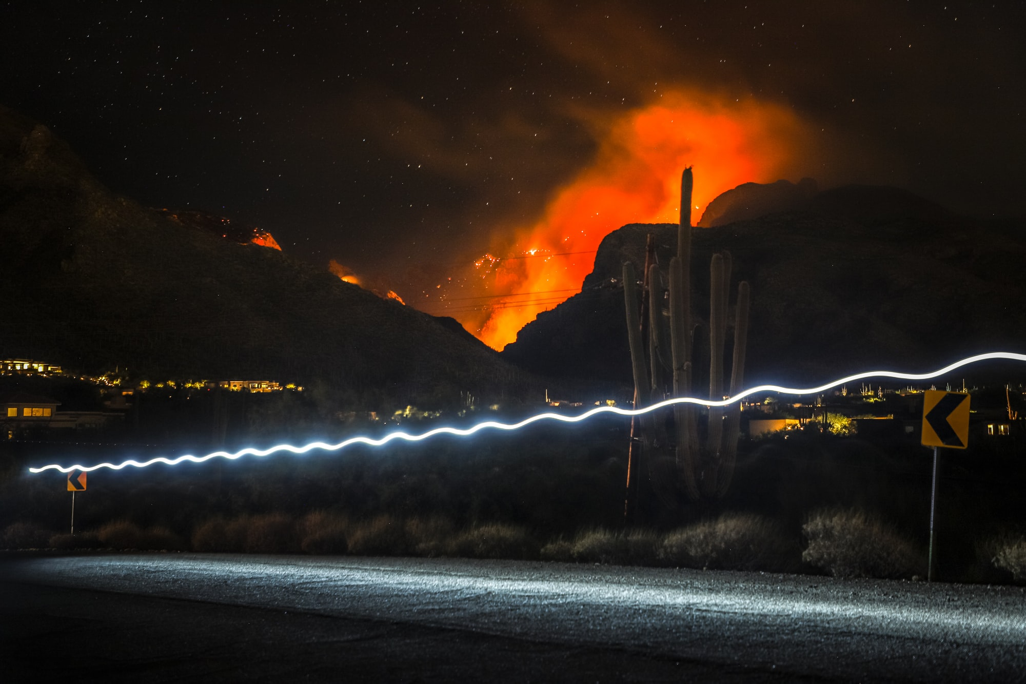 Big Horn Fire at Night