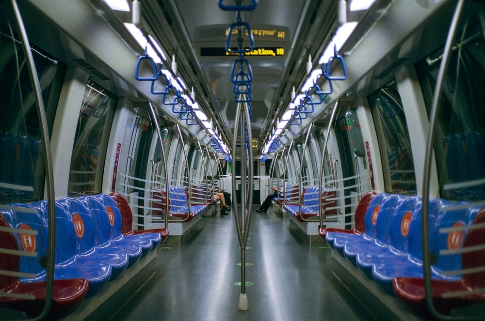 blue and gray train seats