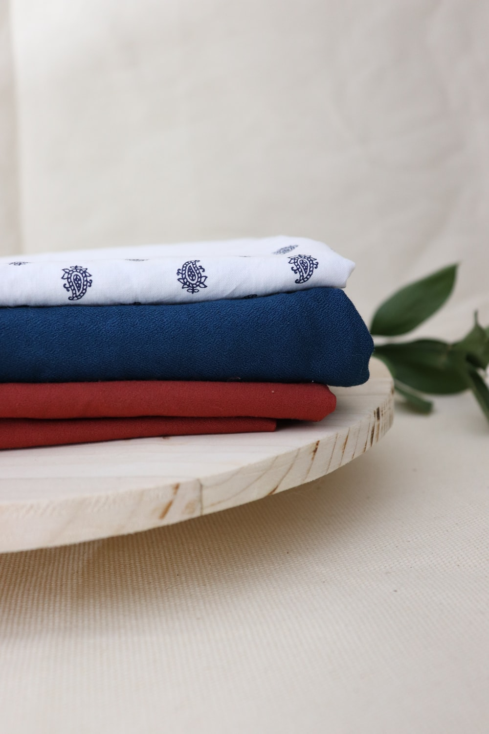 blue red and white textiles