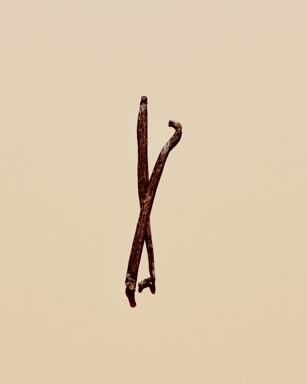 brown stick on yellow background