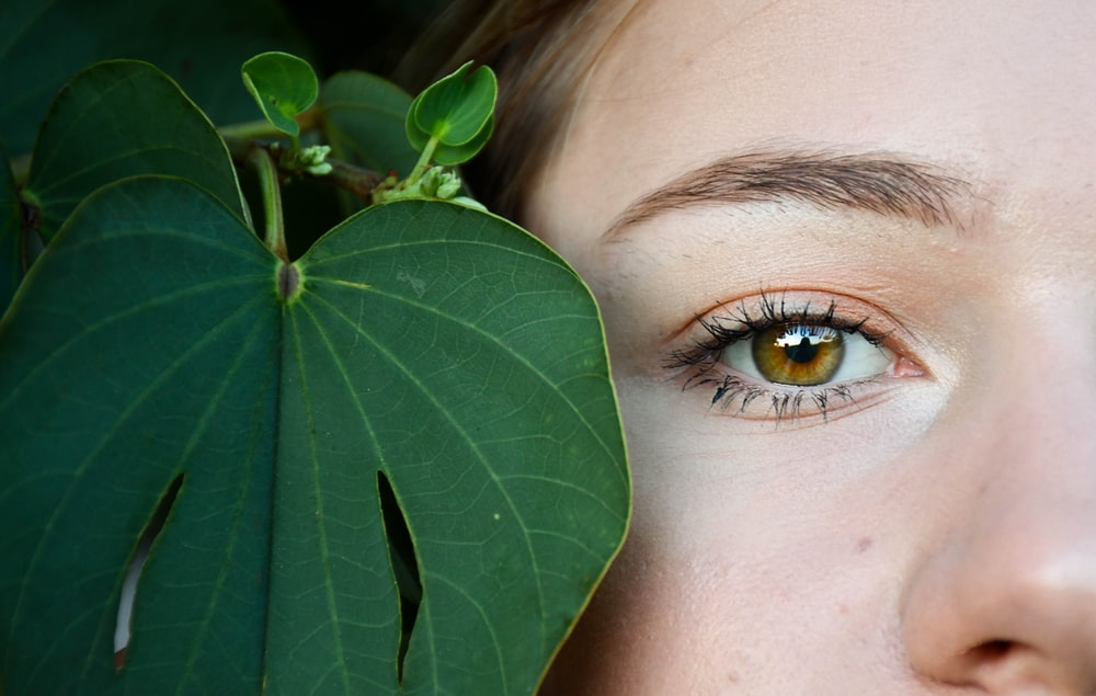 womans eye with green leaves