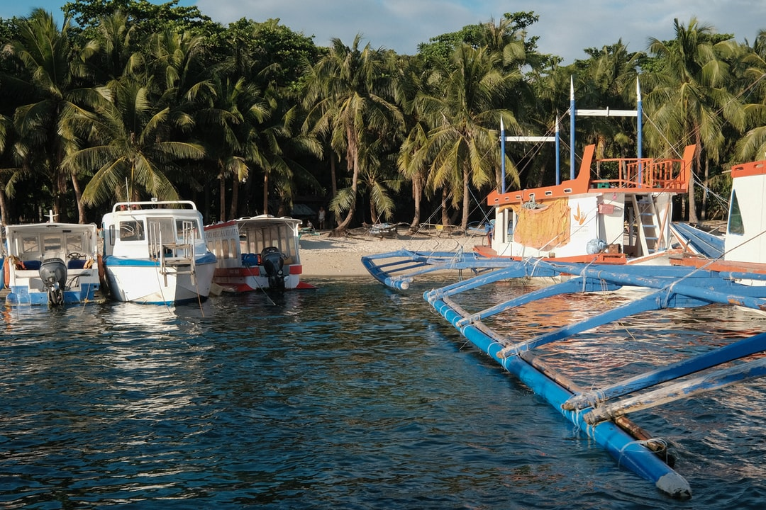 Boats lined up for transport in Boracay, Philippines.