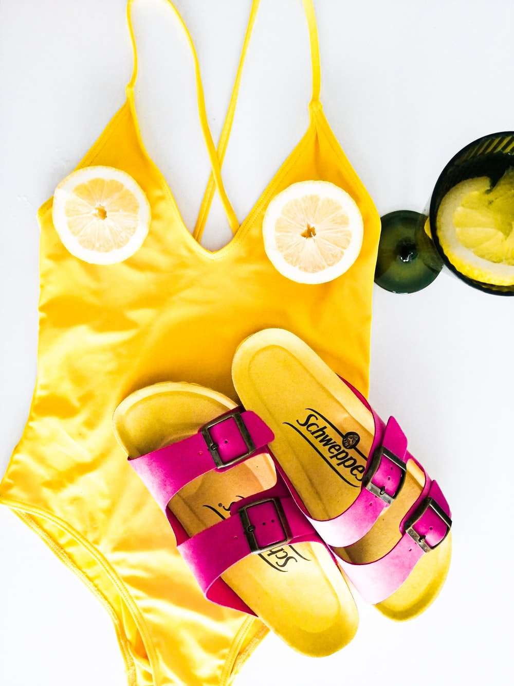 yellow and pink tank top