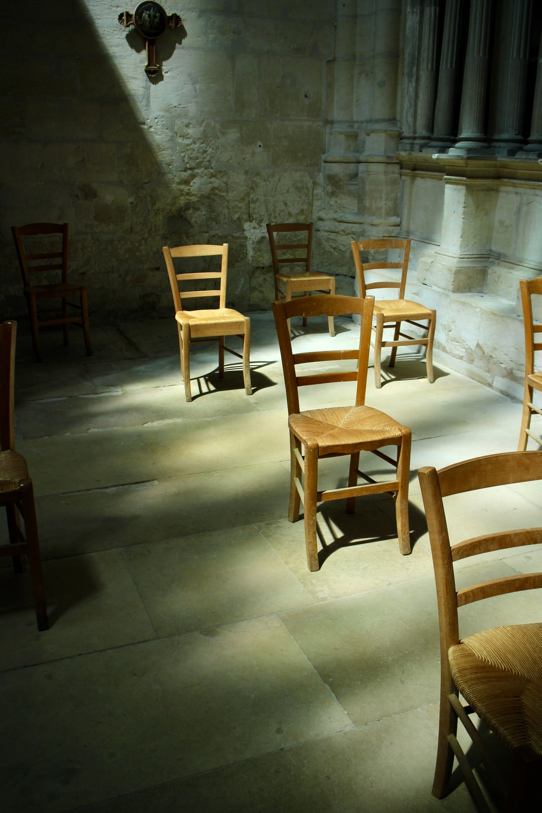 Spaced seats in a French church during Covid-19 pandemic