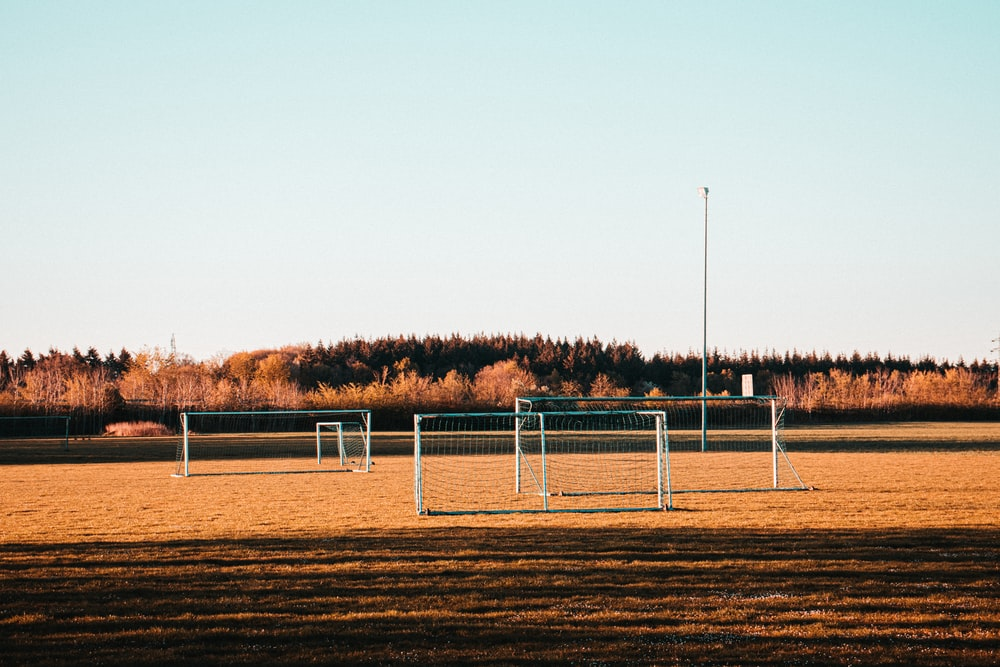 white metal fence on brown field during daytime