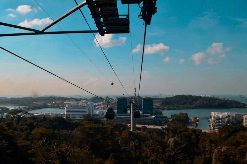 white and black cable car over city buildings during daytime