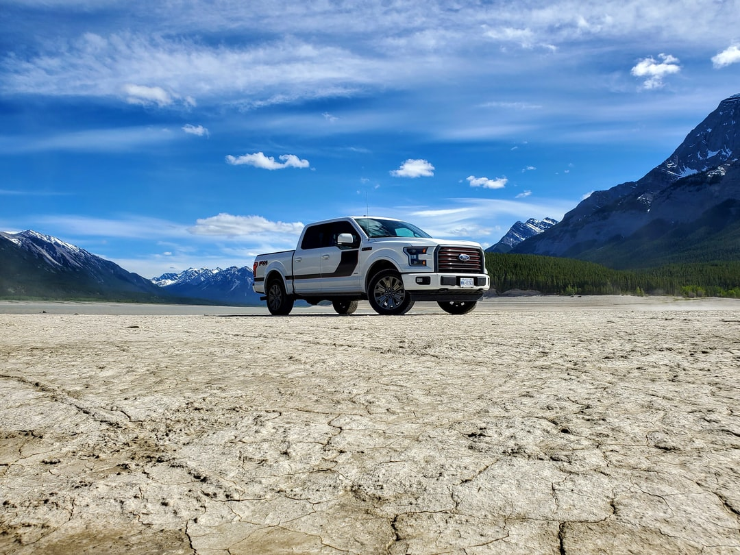 Ford F-150 truck in mountain river bed. 3.5L EcoBoost® V6.