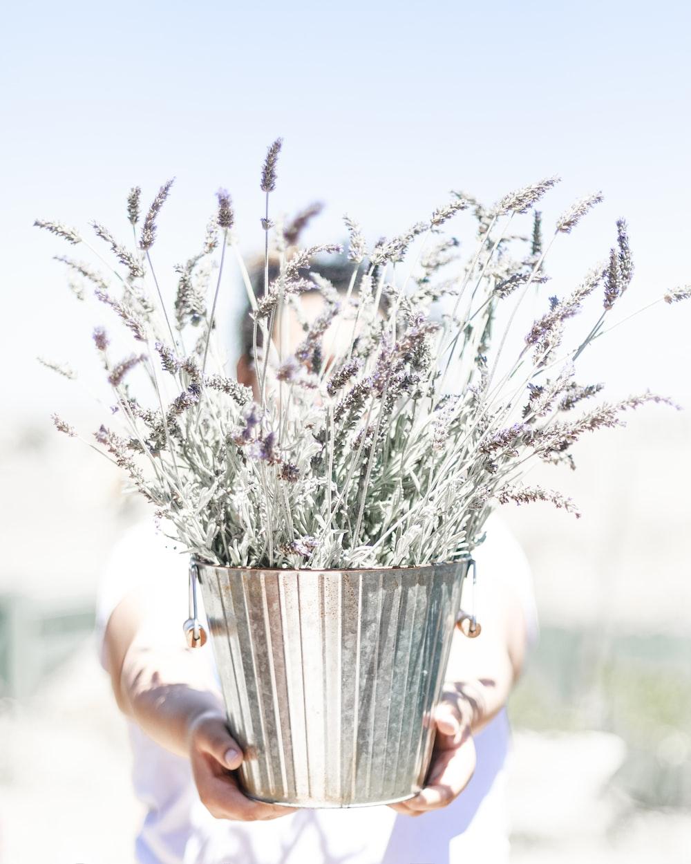 white flowers in gray steel vase