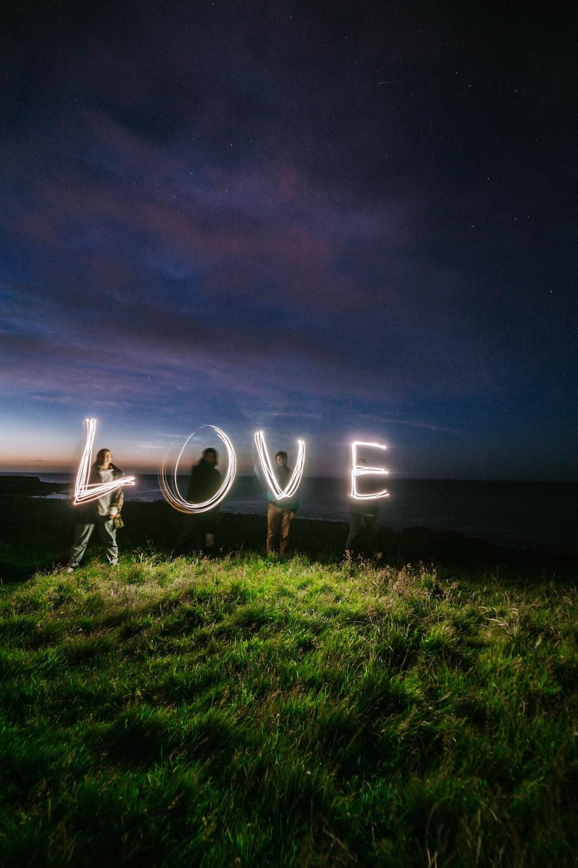 white love neon light signage