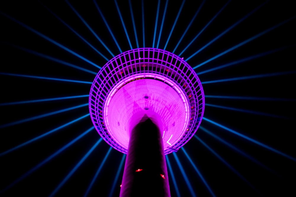 purple and blue led light