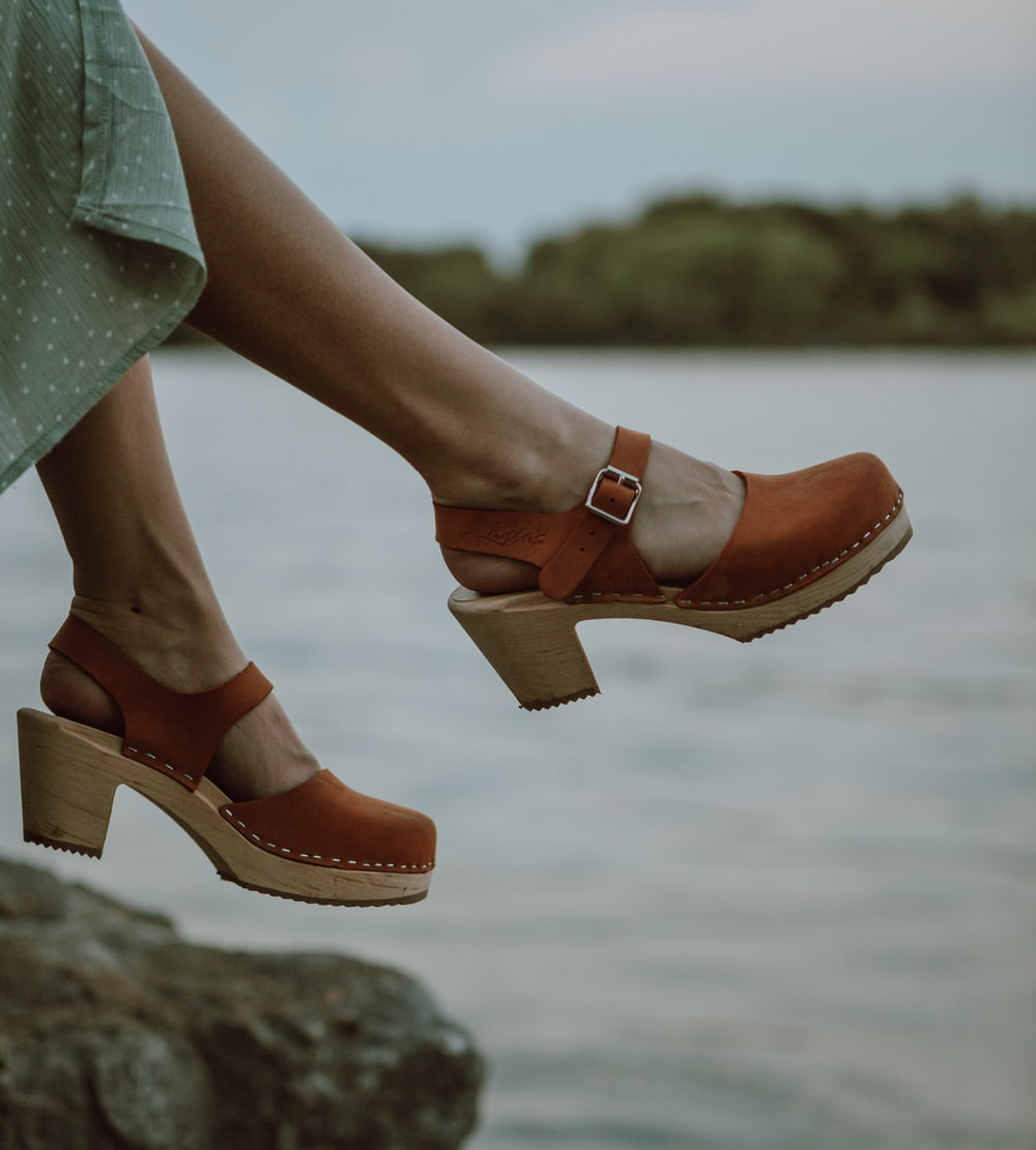 brown and green leather open toe sandals