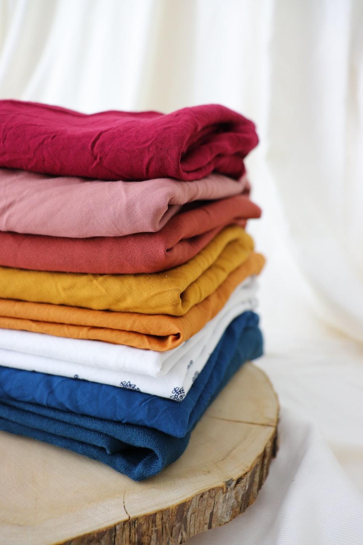 pink blue and orange textiles