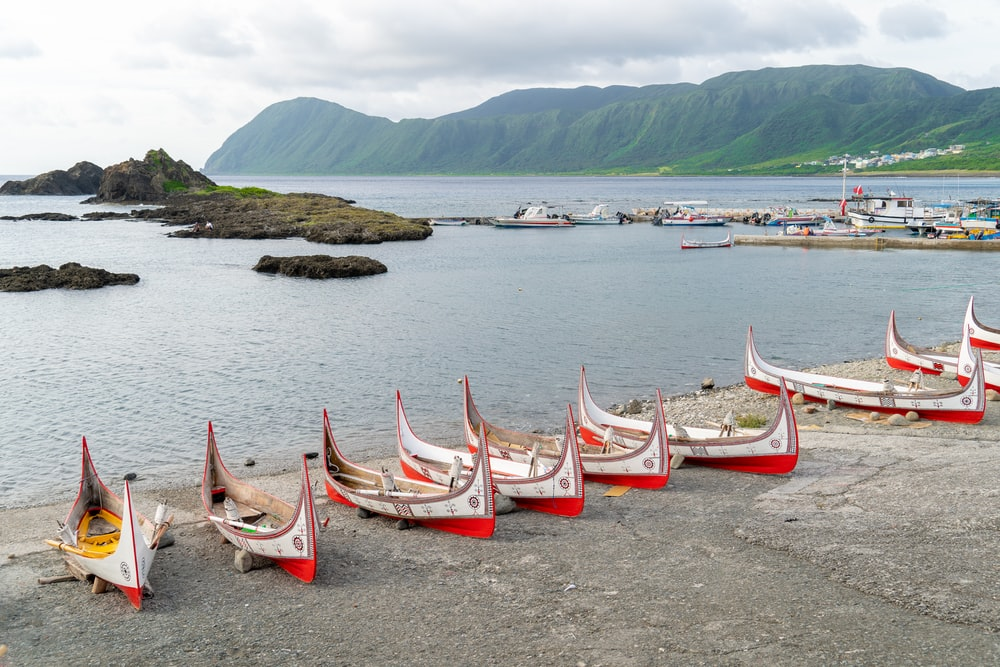 white and red wooden boat on sea shore during daytime