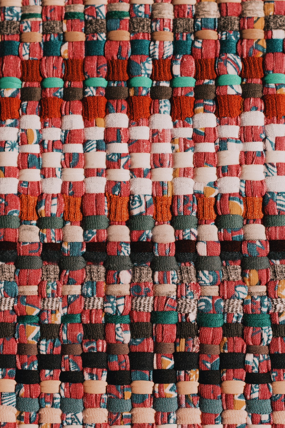 red green and blue textile