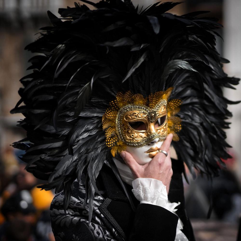 person in black and white costume