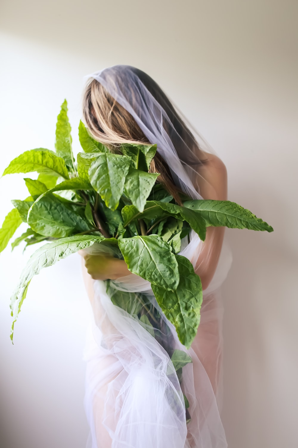 woman in white dress holding green plant