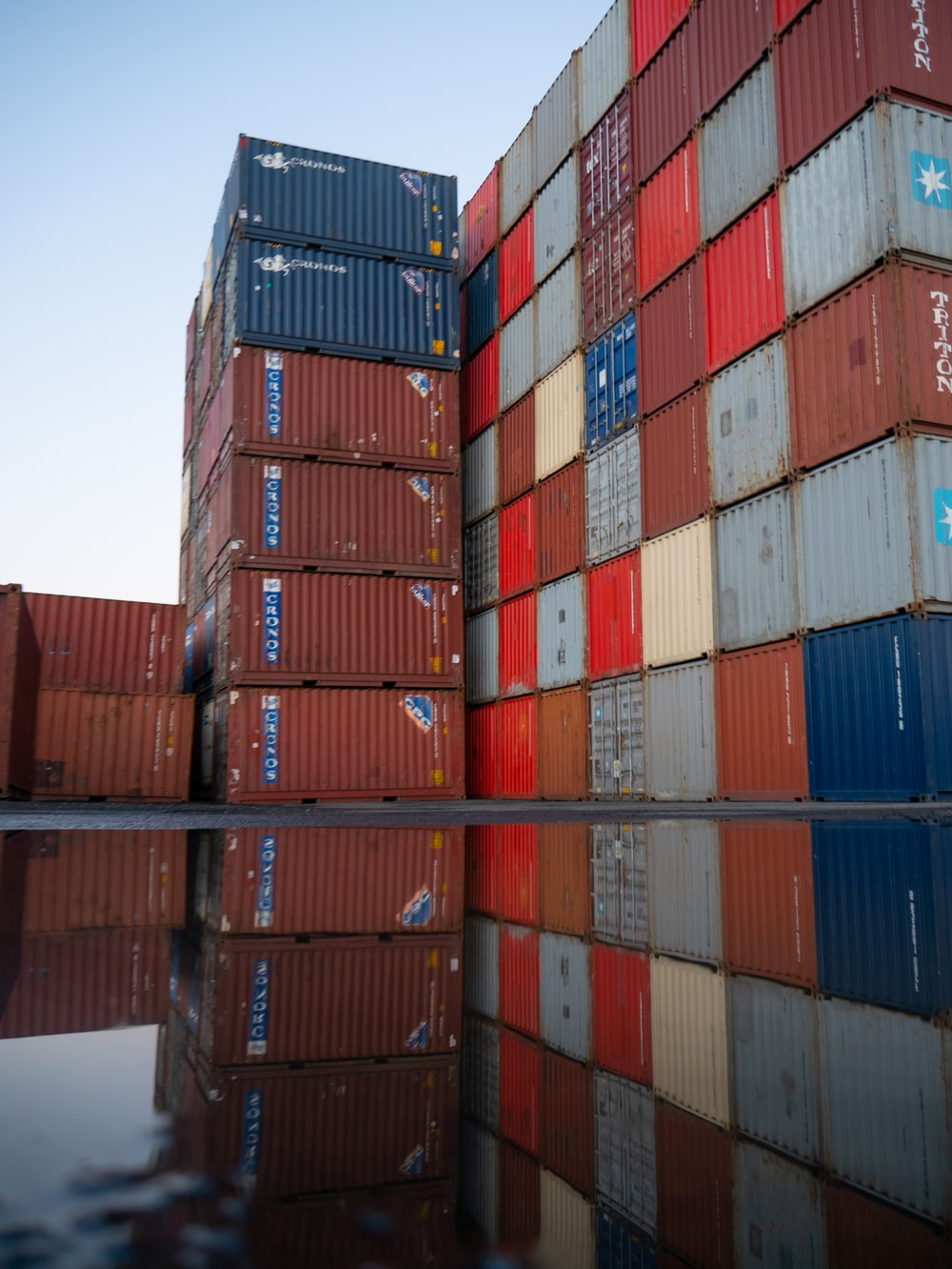 red blue and yellow intermodal containers