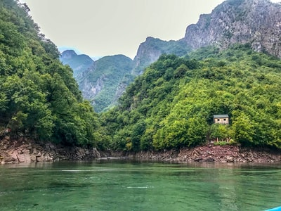 green trees near body of water during daytime albania zoom background