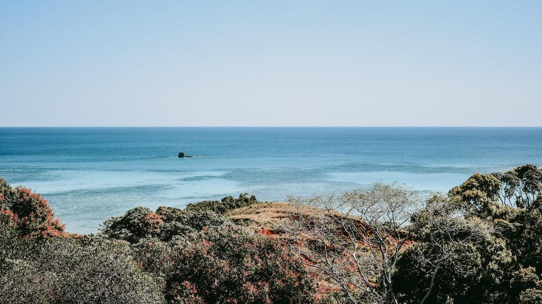 Vast ocean surrounding the small island of Iranja