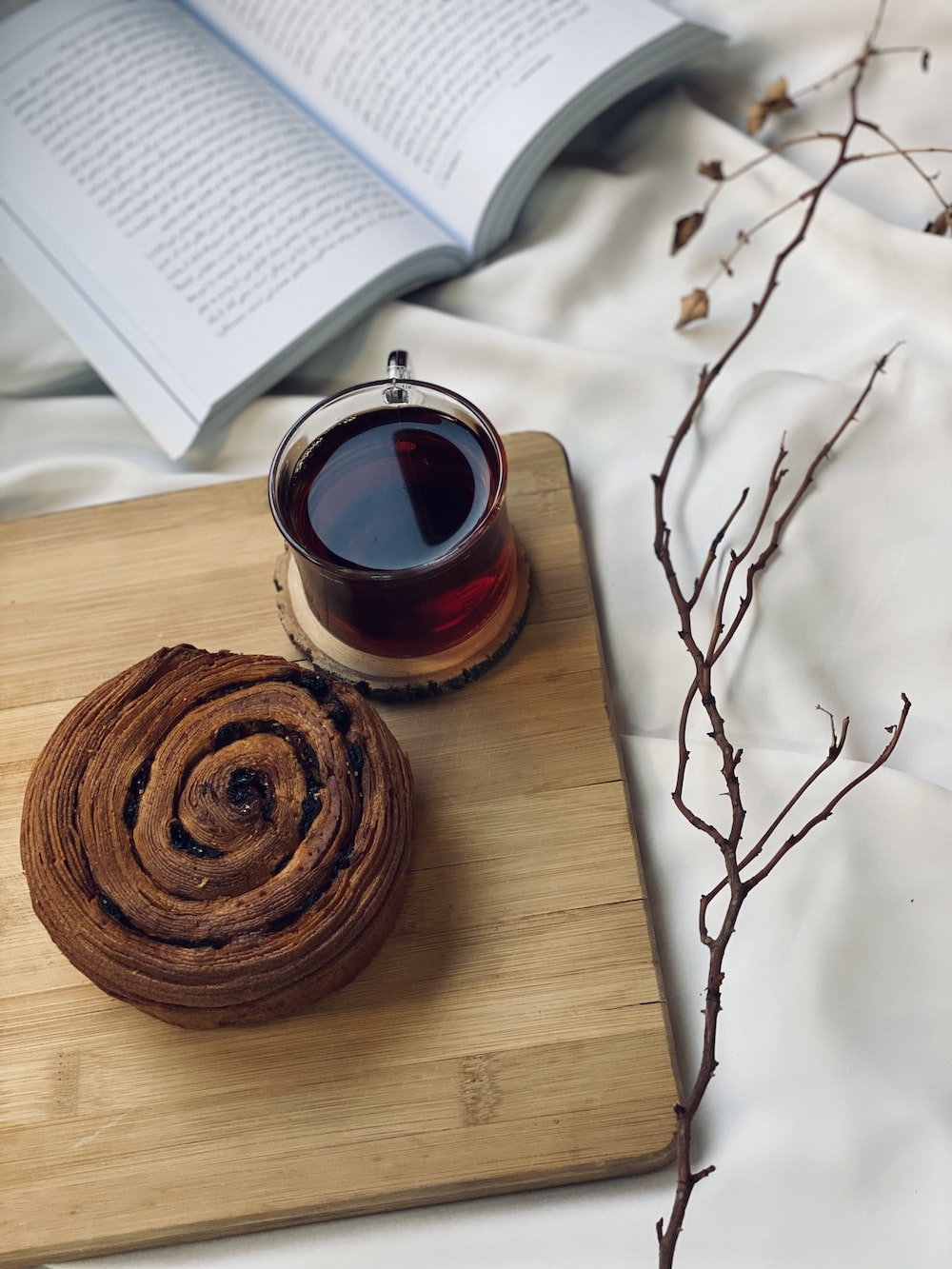 brown round pastry on brown wooden table
